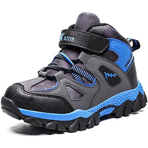 AFFINEST Kinder Winterschuhe Jungen Mädchen rutschfest Stiefel Wanderschuhe Schneestiefel Warm Gefüttert Sneaker,Blau,39EU