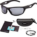 essence� Polarised Sports Sunglasses Mens & Womens � UV400 Eye Protection Cycling Glasses � Also for Day and Night Driving Running Skiing Fishing Sailing Golf � Exclusive Accessories & Safety Strap