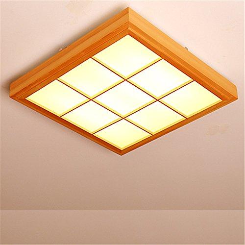 BRIGHTLLT Slimline LED Deckenleuchte japanische Licht Balkon Schlafzimmer Massivholz Kantholz Schlafzimmer electrodeless dimmen Fernbedienung, 510mm Lampe -