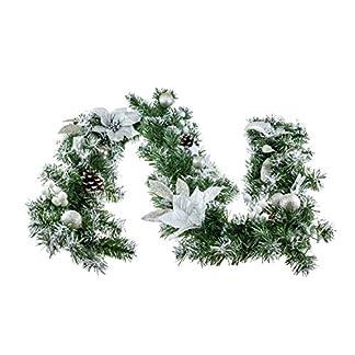 Clever Creations – Guirnalda de Navidad – Espumillón Verde con Flores de Pascua y pétalos de Flores Plateados y Purpurina Brillante – Estilo Tradicional – 198,1 cm