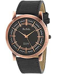 RELISH RE-C8035CB Copper Case Black Dial Analog Watch For Mens & Boys