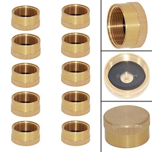 MagiDeal 10 Stück Messing Kappe Deckel für 1lb Propangasflasche Gasflasche Campinggasflasche (Cover Gas Deckel Cap)