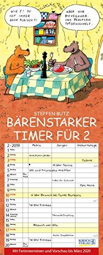 Bärenstarker Timer für 2 2019: Familienplaner mit 3 breiten Spalten. Familienkalender mit Bären-Comics, Ferienterminen, Vorschau bis März 2020 und tollen Extras. 19 x 47 cm.