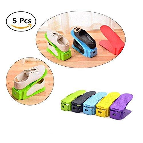 Shoe Rack Verstellbare Schuh Slots Organizer Shoes Organizer Kunststoff Space Saver Halterung Rack, Zufällige Farbe (5 Stck) - Space Saver Wasser