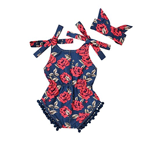 Allouli Baby Girls Tank-top Bodysuit Romper Floral Strap with Headband