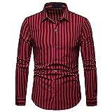 IZHH Herren Business Hemden, Hemdkragen Lange ÄRmel Streifen-Malerei Plus Size Venti Hemden Casual Top Bluse Shirts Langarmshirt Herren(Rot,2XL)