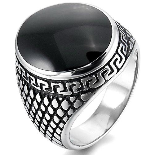 MunkiMix Acero Inoxidable Esmalte Enamel Anillo Ring El Tono De Plata Negro Gótico Gothic Talla Tamaño 22 Hombre
