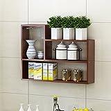 Shelf XM ZfgG Kreatives Wandregal, Wand-Speicher-Behälter-Regal, Speicher-Aufhänger-Kabinett-Bücherregal 80 * 15 * 60 cm (Farbe : Teak)