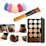 Tonsee 15 Farben Make-up Concealer Kontur-Palette + Wasser Schwamm Puff + Make-up Pinsel