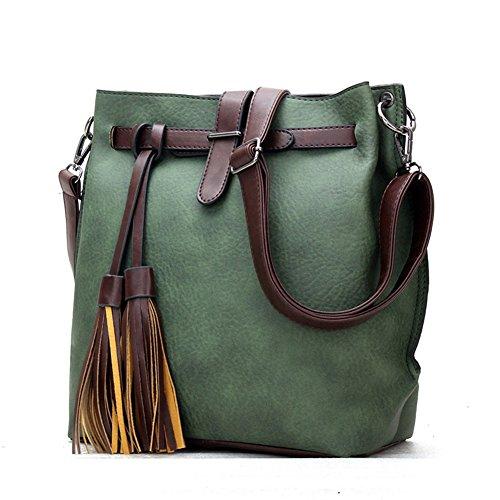 fanhappygo classic Retro Leder Damen Schulterbeutel Umhängetaschen Abendtaschen Messenger Bag grün