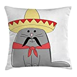 tgyew Cat Throw Pillow Cushion Cover, Modern Illustration of Latino Kitten with Mexican Hat and Moustache Artsy Mascot, Decorative Square Accent Pillow Case, 18 X 18 inches, Grey White Red