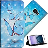 COTDINFOR Galaxy Xcover 4 Hülle für Geschenk Lederhülle 3D-Effekt Kartenfächer Schutzhülle Protective Handy Tasche Schale Standfunktion Etui für Samsung Xcover 4 Three Blue Butterflies YX.