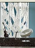 3er-Set Flächenvorhang | Labyrinth | halbtransparent | je 60x260 cm | petrol