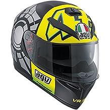 AGV K3 SV Rossi Casco integral para moto de invierno, con visera para el sol, color negro