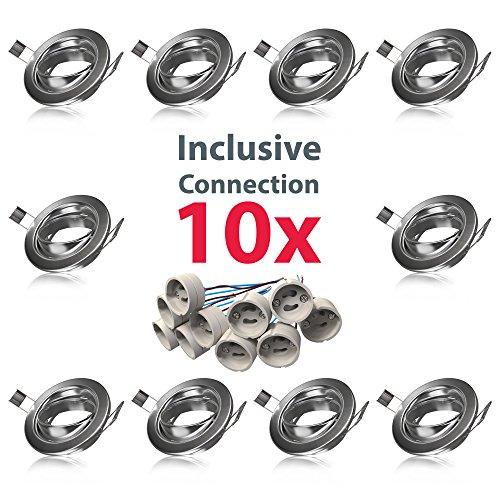 Nickel-matt-rahmen (B.K.Licht Einbauleuchtenrahmen GU10 10er-Set Einbauleuchten Ring schwenkbar Rahmen Einbauspots Einbauleuchten)