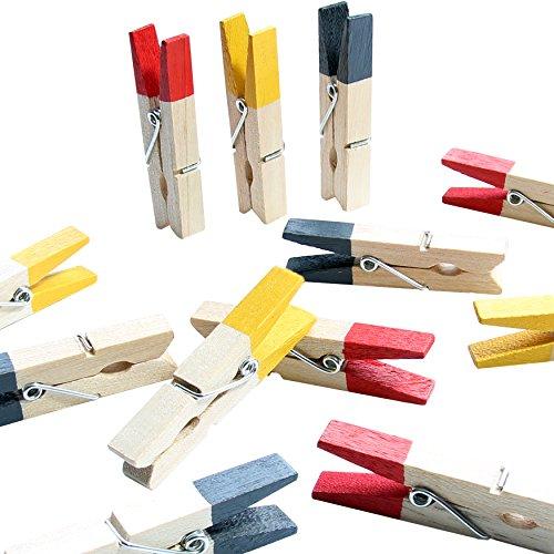 LeTOMA - 12 Bunte Magnetklammern - Holzklammern 45mm - 4xSchwarz, 4xRot, 4xGelb mit integrierten starken Neodym Magneten für die Befestigung am Kühlschrank und vielen Anderen magnetischen Oberflächen