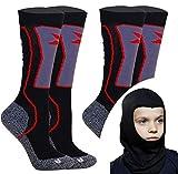 Kids Skisocken Set - 2 Paar WARM Kinder Merino SKISTRUMPF + Thermo Sturmhaube - für Mädchen Junge Italien Thermische Socken mit Merino Wolle (Shwarz, 23-26 EU (2 Paar))