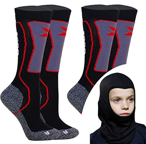 Kids Skisocken Set - 2 Paar WARM Kinder Merino SKISTRUMPF + Thermo Sturmhaube - für Mädchen Junge Italien Thermische Socken mit Merino Wolle (Shwarz, 31-34 EU (2 Paar)) -