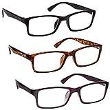 La Compañía Gafas De Lectura Negro/Marrón Carey/Púrpura Lectores Valor Pack 3 Hombres Mujeres UVR3092BK_BR_P Dioptria +1,00