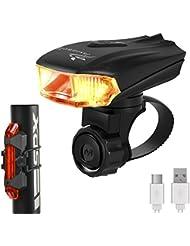 Jasonwell Superhelle, smarte, strapazierfähige Fahrradlampe aus Aluminiumlegierung, per USB aufladbar, LED-Fahrrad-Kopflampe, GRATIS per USB aufladbares RÜCKLICHT inklusive, 400 Lumen LED-Fahrradlicht