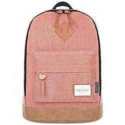 Minetom Mezclilla Backpack Mochilas Escolares Mochila Escolar Casual Bolsa Viaje Moda Color Sólido Unisex Madera Rosado One Size(43*32*17 Cm)