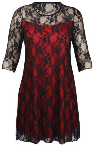 Purple Hanger - Robe Fleurie Dentelle Extensible Manche 3/4 Femme Grande Taille Soirée Rouge - Black & Red