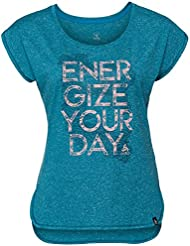 Odlo BL Top Crew Neck S/S Claro – Camiseta, primavera/verano, mujer, color crystal teal melange - placed print SS18, tamaño small