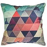 Luxbon Bunt Dreiecks Kachel Dauerhaft Leinen Kissenbezug mit Reißverschluss Sofa Büro Dekokissen 45x45 cm
