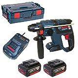 Bosch Professional 061190400F GBH 18 V-EC Schlagbohrhammer, 2 x 5,0 Ah Akku, Schnellladegerät, Tiefenanschlag, L-BOXX, Blau, 42922