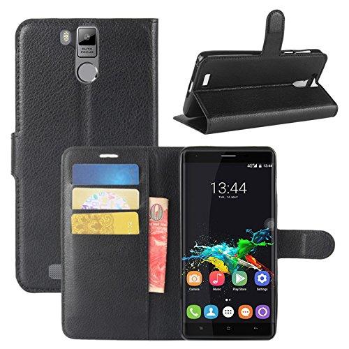 HualuBro Oukitel K6000 Pro Hülle, Premium PU Leder Leather Wallet HandyHülle Tasche Schutzhülle Flip Case Cover für Oukitel K6000 Pro Smartphone (Schwarz)