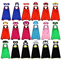 Tawcal Disfraz de Superhéroes para Niño, Máscaras de Superhéroe Capas y Máscaras Fieltro Mitad Máscara Cosplay Disfraces Accesorio de Fiesta Regalo para Halloween Navidad Cumpleaños Partido