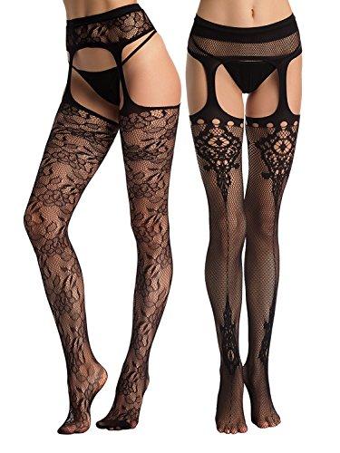 Beluring Overknee struempfe Damen Sexy Suspender Strumpfgürtel Strumpfwaren, Schwarz 1367, Einheitsgröße