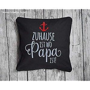 Kissen Vatertag Geschenk 40 * 40 Papa Geburtstag Wohnen schwarz grau rot Maritim Anker Vater