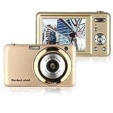 Webat V600 Digitalkamera 15 Megapixel,1280 X 720 HD und 5X optischer Zoom, 6,8 cm (2,7 Zoll) TFT LCD-Bildschirm Kompaktkamera, Gesichtserkennung(Gold)