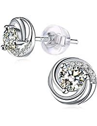 Earrings, J.Rosée Jewellery Silver Earrings 925 Sterling Silver 3A Cubic Zirconia Stud Earrings Spiral love, Exquisite Package, Graduation Gifts