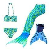 Queues de Sirène Mermaid Bikini Maillots de Bain Costume Cosplay pour Enfant Filles