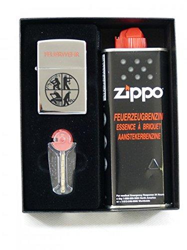 Zippo 1.900.421 Feuerzeug Feuerwehr, Logo graviert, Chrome high Polished, schwarz/Schriftzug rot (Graviert Zippo Feuerzeuge,)