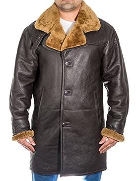 Hombres de cuero marr—n piel de oveja largo cl‡sico abrigo