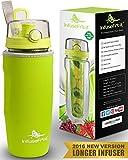Trinkflasche für Fruchtschorlen (950ml) in verschiedenen Farben, mit langem Infuser und Isolierhülle - 100% dicht und perfekt für Sport & Freizeit