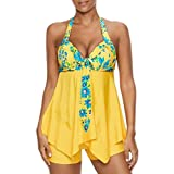 OverDose Damen Halfter Blumendruck Übergröße Bikinis Tankini Swim Kleid Badeanzug Beachwear Gepolsterte Bademode Frauen Plus Size Beachwear Badeanzüge Bikini Set(Gelb,EU42)
