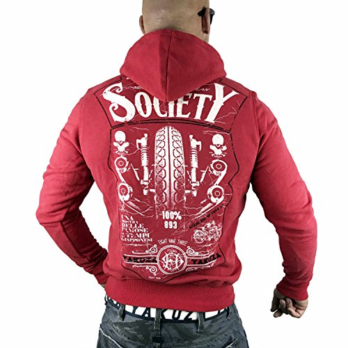 Yakuza Original Herren Violent Society Hoodie Kapuzenpullover Racing Red