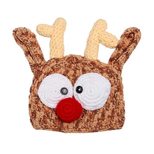 fexgaoo Weihnachten Santa Rentier Häkeln Lustig Kinder Baby Säugling Hut Mütze Foto Prop