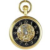 Ogle 3ATM Wasserdicht Edelstahl Vintage Gold Schwarz großes Gesicht FOB Self Winding automatische Skelett mechanische Taschenuhr Kette Box