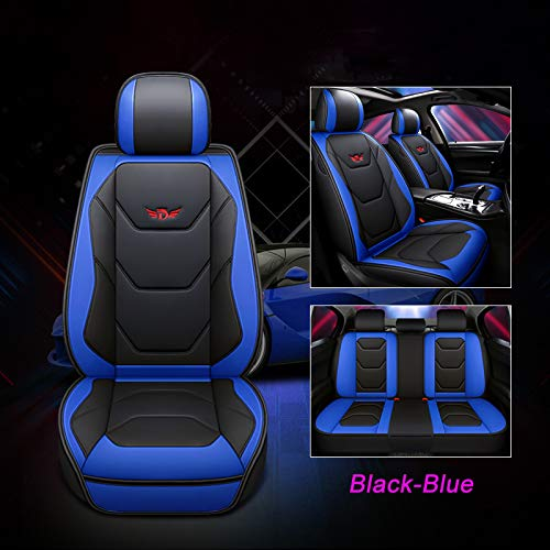PU Leder Auto Autositzbezüge 5 Sitze All-Inclusive Vier Jahreszeiten Universal (Sport Blau)