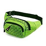Sac CaaCoo Ceinture ,Sac Banane, les voyages, le vélo, le patinage, la randonnée, le chien marchant, 3 Zip poches (vert)