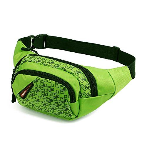 CaaCoo Tasche Hüfttasche 3 Reißverschluss Taschen Reisen Wandern Outdoor Sport Bum Tasche Urlaub Geld Hip Pouch Pack (grün) (Geldbörse Mit Reißverschluss Mikrofaser)