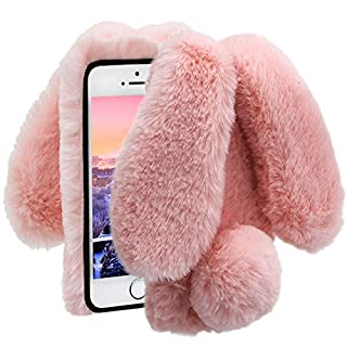 Herzzer Pink Soft Case for iPhone 7 Plus,Diamond Crystal Furry Cover for iPhone 8 Plus, Luxury Cartoon Rabbit Ear Design Fluffy Hairy Silicone Rubber Protective Case
