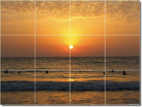 PUESTAS DE SOL FOTOS PARA AZULEJOS MURAL 21  12 75X 17PULGADAS CON (12) 4 25X 4 25AZULEJOS DE CERAMICA