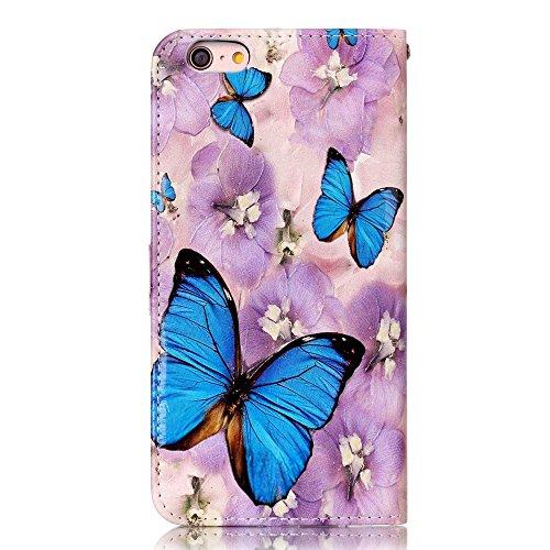 "MOONCASE iPhone 6 Plus/iPhone 6s Plus Handyhülle, [Colorful Relief Pattern] Stoßfest Ganzkörper Schutzhülle mit Ständer Leder Tasche Case für iPhone 6s Plus 5.5"" Bear Butterfly"