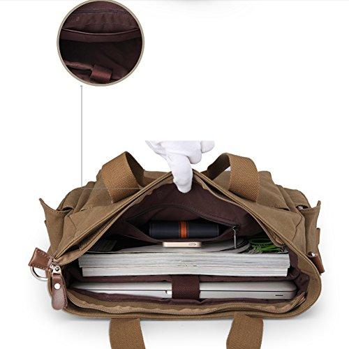 Everdoss Herren Canvas Handtasche Schultertasche Messenger Bag Umhängetasche Freizeittasche casual Kuriertasche Laptoptasche Kaffee